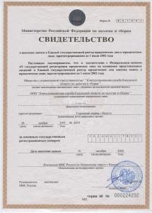 Свидетельство о внесении записи в Единый государственный реест